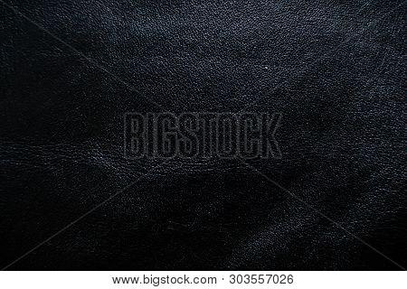 Black Genuine Cowhide Dark Texture Luxury Background
