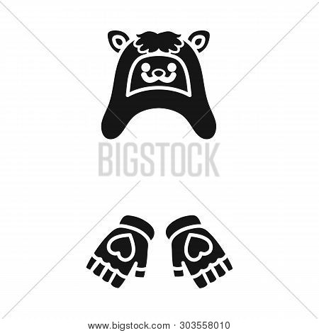 Vector Illustration Of Hat And Gloves  Icon. Set Of Hat And Pompom Vector Icon For Stock.