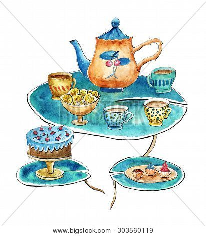 Tea Time Set On Water Lily Leaves. Teapot, Cups, Cake, Cookies, Cupcakes. Isolated Clipart, Watercol