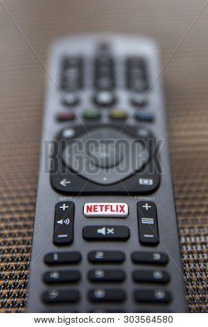 Belgrade, Serbia - May 9, 2019: Close Up Netflix Remote Control. Netflix Is An American Media-servic