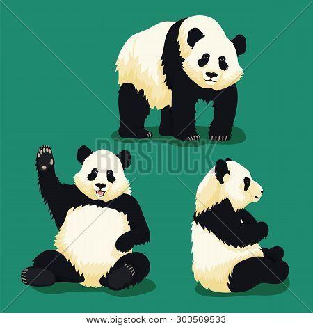Set Of Cartoon Illustrations Of Cute Giant Pandas. Sitting Panda Smiling And Waving, Standing Panda
