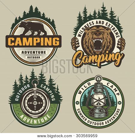 Vintage Colorful Camping Badges With Walking Bear Ferocious Grizzly Head Navigational Compass Lanter