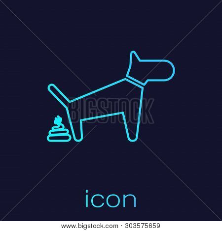 Turquoise Dog Pooping Line Icon Isolated On Blue Background. Dog Goes To The Toilet. Dog Defecates.