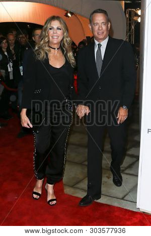 NEW YORK - APR 26: Actors Rita Wilson (L) and Tom Hanks attend 'The Circle' screening during the 2017 TriBeCa Film Festival at BMCC Tribeca PAC on April 26, 2017 in New York City.