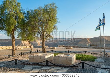 Sde Boker, Israel - November 25, 2018: The tomb of the founder of the State of Israel, Ben-Gurion and his wife in the kibbutz Sde Boker in the Judean Desert, Israel.
