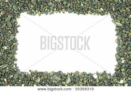 pile of rocks on each side