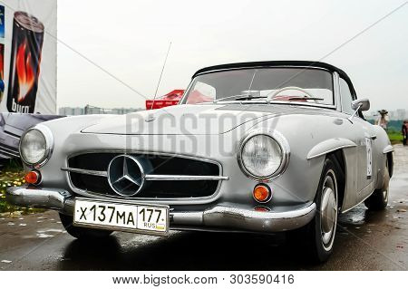 Moscow, Russia - May 25, 2019: Old Vintage Mercedes Benz 190 Sl Convertible In Gray Color Parked. Fr