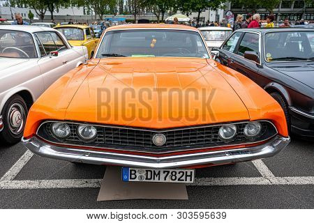 Berlin - May 11, 2019: Muscle Car Ford Torino Cobra, 1970. 32th Berlin-brandenburg Oldtimer Day.