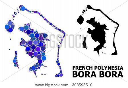 Blue Circle Dot Mosaic And Solid Map Of Bora-bora. Vector Geographic Map Of Bora-bora In Blue Color