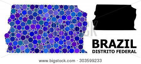 Blue Round Spot Mosaic And Solid Map Of Brazil - Distrito Federal. Vector Geographic Map Of Brazil -