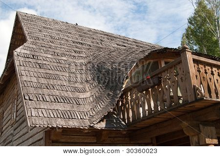 Rural House Balkony With Wooden Roof