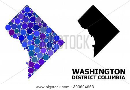 Blue Round Spot Mosaic And Solid Map Of District Columbia. Vector Geographic Map Of District Columbi