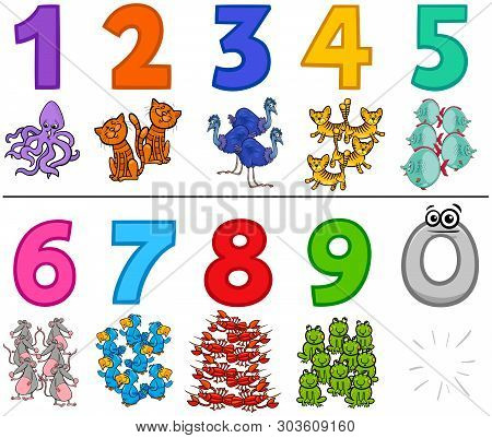 Cartoon Illustration Of Educational Numbers Set From One To Nine With Funny Animal Characters