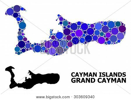 Blue Circle Dot Mosaic And Solid Map Of Grand Cayman Island. Vector Geographic Map Of Grand Cayman I