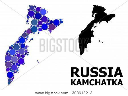 Blue Round Spot Mosaic And Solid Map Of Kamchatka Peninsula. Vector Geographic Map Of Kamchatka Peni