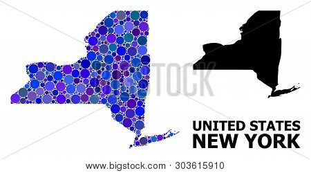 Blue Round Spot Mosaic And Solid Map Of New York State. Vector Geographic Map Of New York State In B