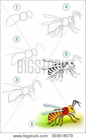 Educational Page For Kids Shows How To Learn Step By Step To Draw A Cute Insect Hornet. Back To Scho