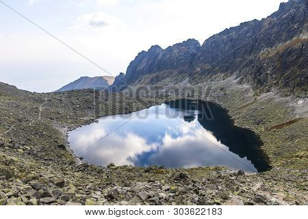 Hiking In High Tatras Mountains, Slovakia. Vysne Wahlenbergovo Pleso Lake (2154m) In Furkotska Valle