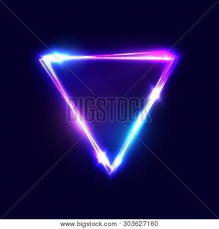 Triangle Background. Glowing Neon Sign With Blue And Pink Light Effects. Retro 80s Style Laser Shini