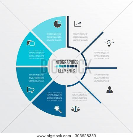 Vector Illustration Infographics. Business Concept With 8 Options. For Content, Diagram, Flowchart,