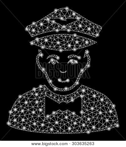 Bright Mesh Airline Steward With Glow Effect. Shiny Wire Frame Triangular Network In Vector Format O