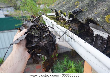 Rain Gutter Cleaning From Leaves And Dirt With Roofer Hand.  Roof Gutter Pipe Cleaning Tips. Clean Y