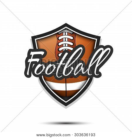 Rugby Logo Design Template. Rugby Emblem Pattern. Rugby Ball And Shield With Vintage Lettering On An