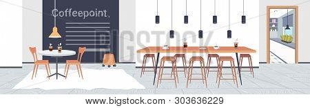 Modern Cafe Interior Empty No People Restaurant With Furniture Coffee Point Concept Flat Horizontal