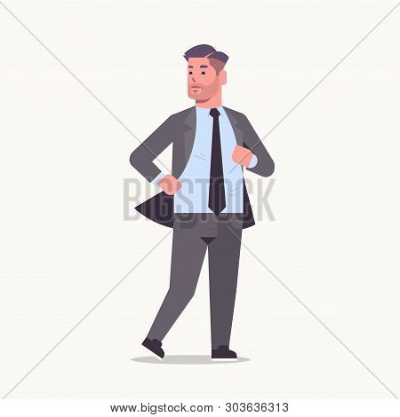 Businessman In Formal Wear Standing Pose Smiling Male Cartoon Character Business Man Office Worker P