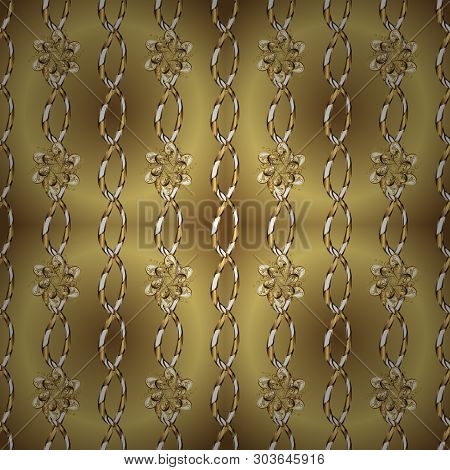 Golden Snowflakes On Neutral And Yellow Colors. Symbol Holiday, New Year Celebration Vector Golden P