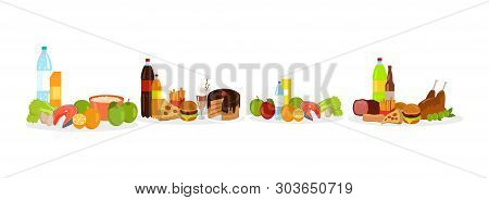 Fast Food And Healthy Meal Decorations, Fish With Eggs And Greenery, Hamburger And Chicken, Soda And