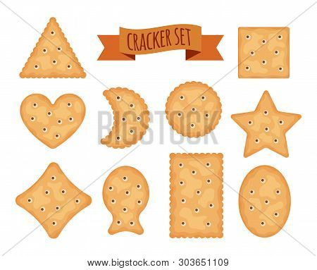 Set Of Cracker Chips Different Shapes Isolated On White Background. Biscuit Cookies For Breakfast, T