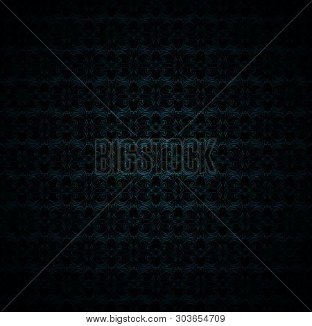 Gloomy Malachite Green And Black Vintage Background, Royal With Classic Baroque Pattern, Rococo With