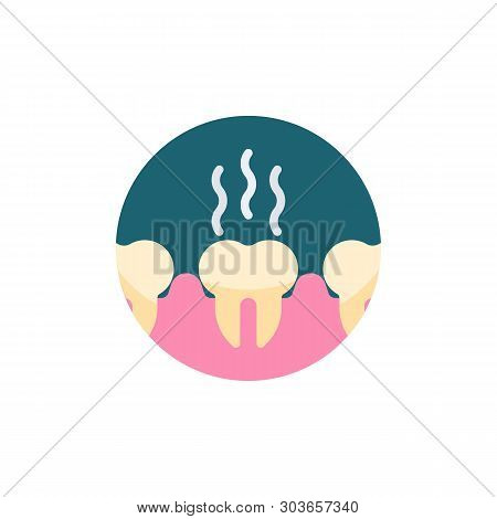 Unhealthy Teeth Flat Icon. Round Colorful Button, Bad Teeth Circular Vector Sign. Stinky Tooth Flat