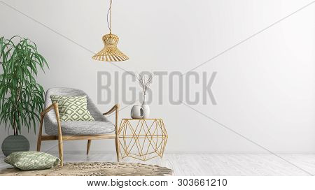 Interior Of Living Room With Golden Coffee Table,  Gray Armchair, Home Design 3d Rendering