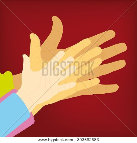 Three Hands Of Adult, Young And Chid. Isolate Silhouettes.