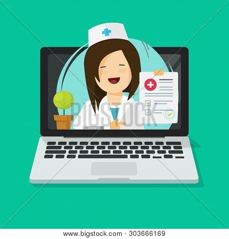 Tele-medicine Vector Illustration, Flat Cartoon Doctor Consulting Online Via Laptop Computer, Medic
