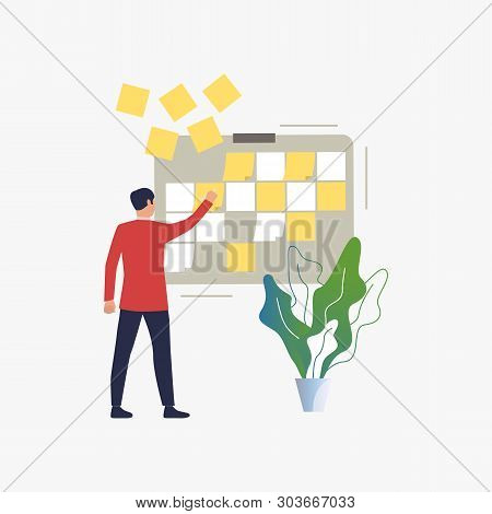 Manager Removing Notes From Board. Employee Completing Project And Cleaning Kanban Board. Business C