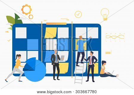 Team Working On Startup. Note Board, Diagram, Scrum Meeting. Business Concept. Vector Illustration C