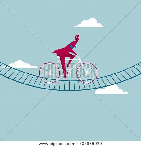 Businessman Riding A Bicycle Mid-air. Isolated On Blue Background.