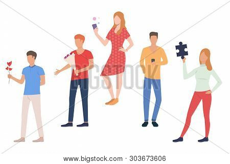 Set Of People Dating Online And Offline. Group Of Men And Women On Valentines Day. Vector Illustrati