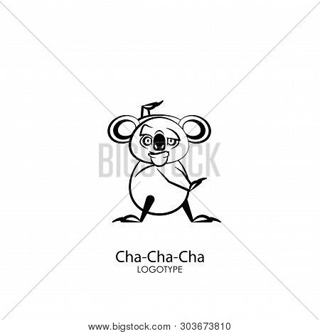 Cartoon Character Of The Australian Inhabitant. Funny Koala Is Standing In The Pose Of Dance And Gri