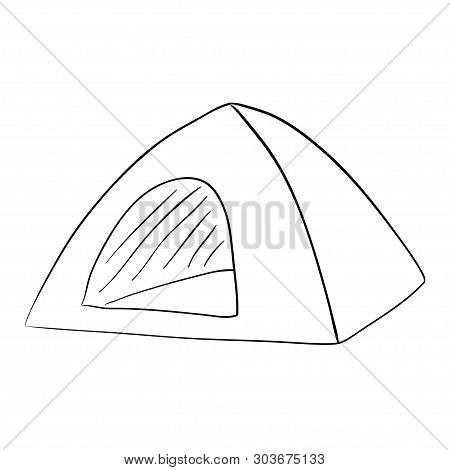 Tent Camping. Ink Pen. Accomodation. House. Mobile Home