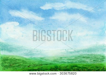 Summer Watercolor Landscape. Spring Watercolor Landscape With Mountains, Blue Sky, Clouds, Green Gla