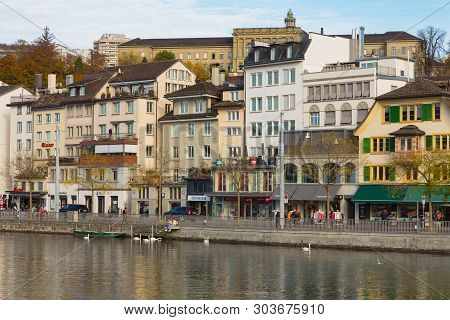 Zurich, Switzerland - October 25, 2017: Buildings Of The Historic Part Of The City Of Zurich Along T