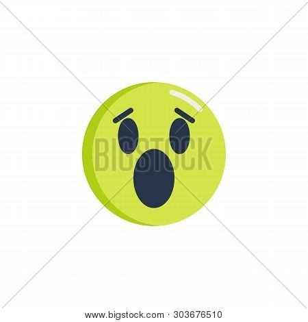 Surprised Face Emoticon Flat Icon, Anguished Emoji Face Vector Sign, Colorful Pictogram Isolated On