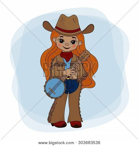 Cowgirl Banjo American Cowboy Western Music Festival Vector Illustration Set For Print Fabric And De