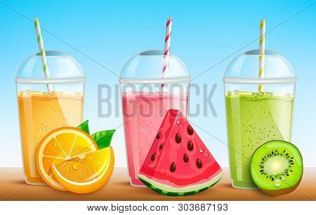 Smothie Set With Fresh Fruit Orange, Watermelon, Kiwi. Juice In Plastic Cup With Striped Pipe. Mug O