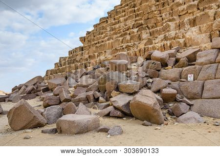 Closeup View On Great Pyramid Of Cheops In Giza Plateau. Cairo, Egypt