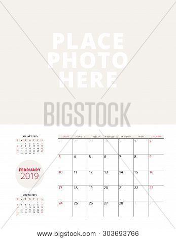 Wall Calendar Planner Template For February 2019. Week Starts On Sunday. Vector Illustration. Statio